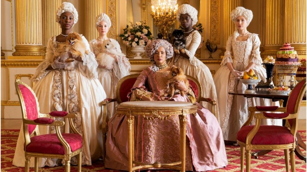 "Queen Charlotte and her ladies maids in ""Bridgerton"" season one."