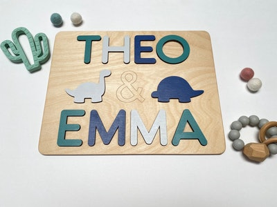 Twin Wooden Name Puzzle