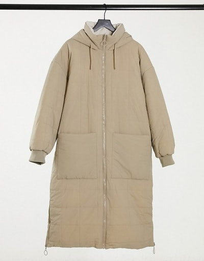 Topshop longline quilted padded jacket in ecru