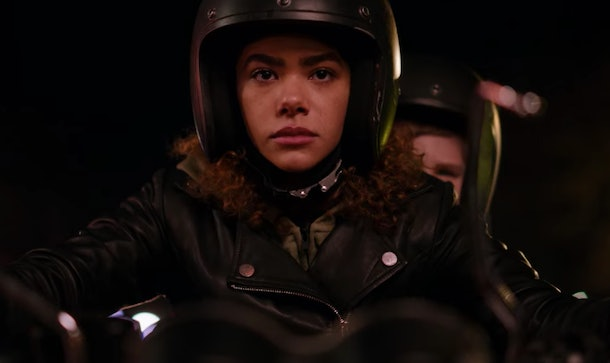 NTONIA GENTRY as GINNY riding on a motorcycle in Netflix's 'Ginny & Georgia'