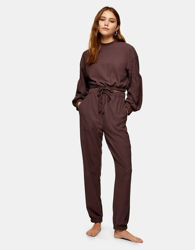 Topshop waffle joggers in plum