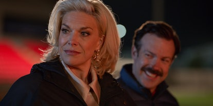 "Hannah Waddingham and Jason Sudeikis in ""Ted Lasso"" via Apple TV+ PR site"