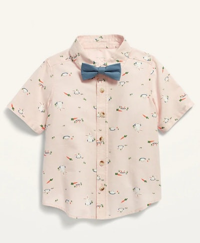 Printed Button-Front Oxford Shirt and Bow-Tie Set