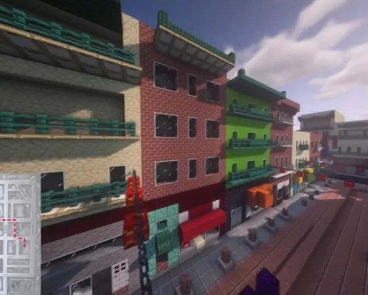 Minecraft tour of Chinatown screenshot with a map in the lower left corner