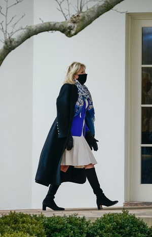 First Lady Dr. Jill Biden walks back to the White House residence on January 29, 2021 in Washington, DC.