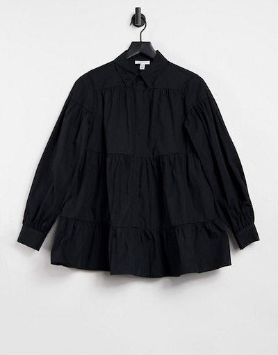 Topshop tiered poplin shirt in black