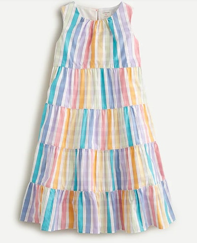 Girls' tiered midi dress in rainbow gingham