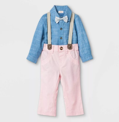 Cat & Jack Baby Boys' Chambray Suspender Top & Bottom Set with Bowtie