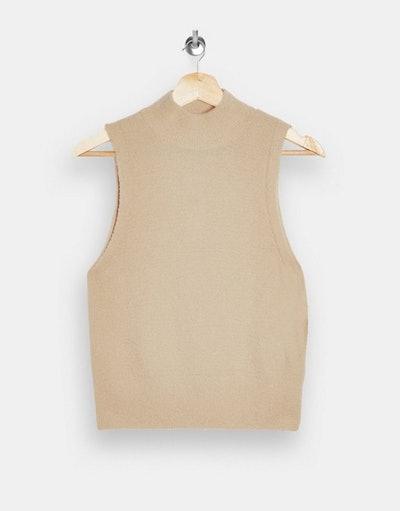 Topshop sleeveless fluffy funnel neck jumper in beige