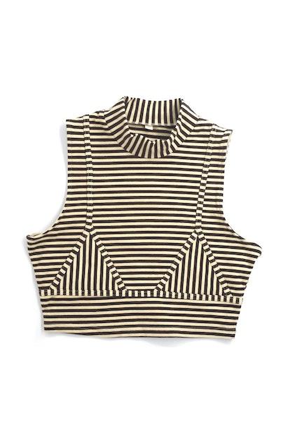 Cream/Brown Striped Bikini Seams Crop Top