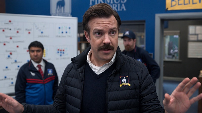 "Jason Sudeikis in ""Ted Lasso"" via Apple TV+ PR site"