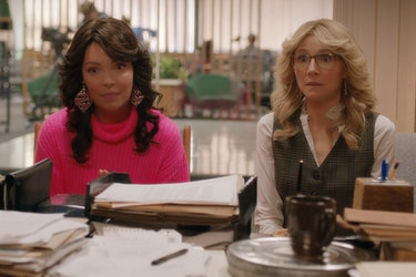(L to R) Katherine Heigl as Tully and Sarah Chalke as Kate, sitting in an office setting with '80s hair