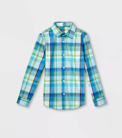 Cat & Jack Boys' Woven Long Sleeve Button-Down Shirt
