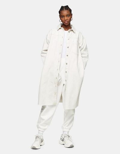 Topshop oversized longline shacket in white