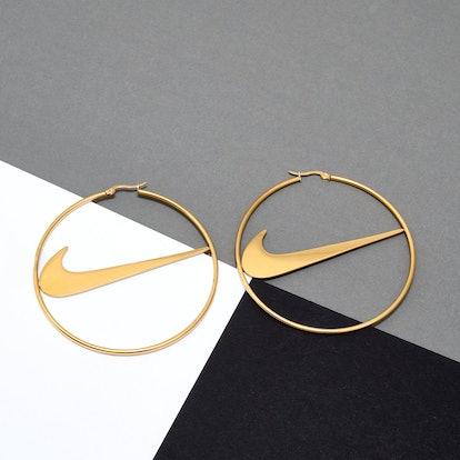 SimplySterlingStore Large Nike-Inspired Hoop Earrings