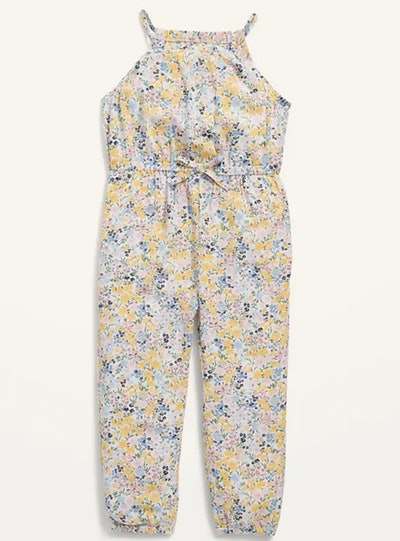 Sleeveless Printed Jumpsuit for Toddler Girls in Cream Floral