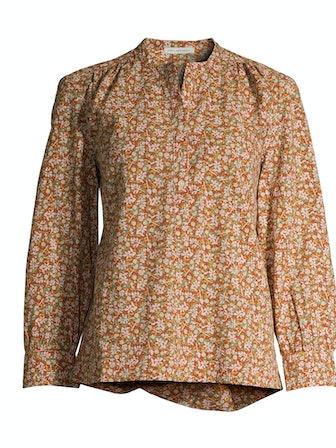 Shirred Button-Down Shirt