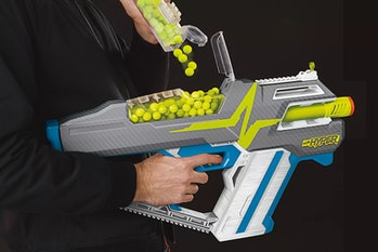 Nerf Hyper blaster being reloaded with projectiles.
