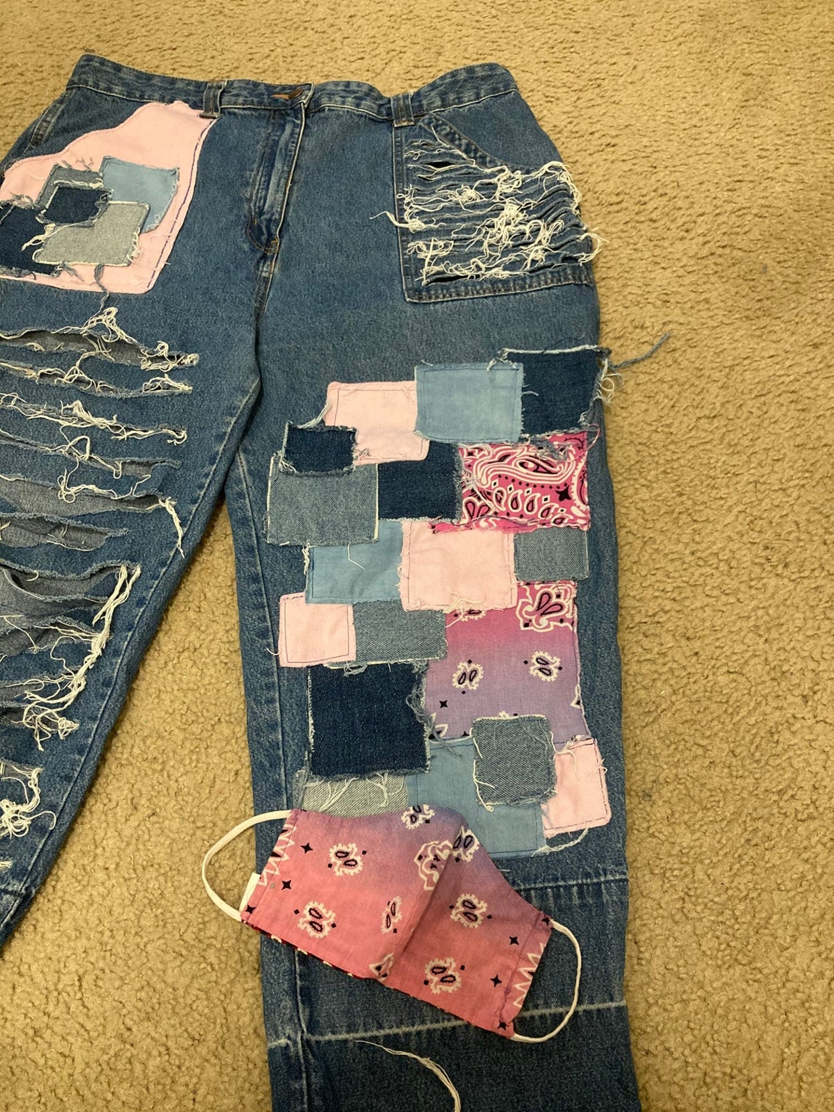 ShaniahRenaeStore Bandana Patchwork Jeans w/ Mask