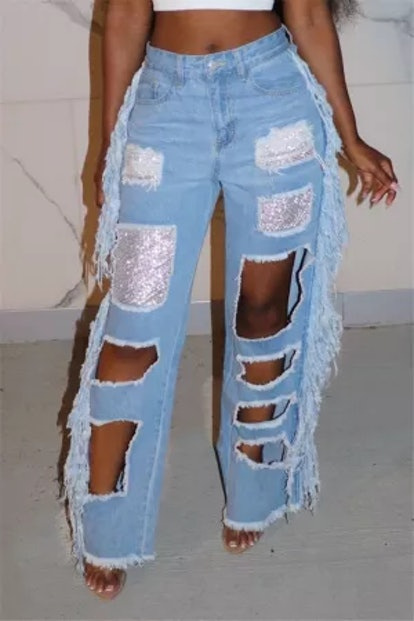 Know Fashion Style Light Blue Fashion Sexy Regular Patchwork Jeans