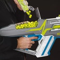 The Nerf Hyper is a new line of high-capacity blasters that can be reloaded quickly.