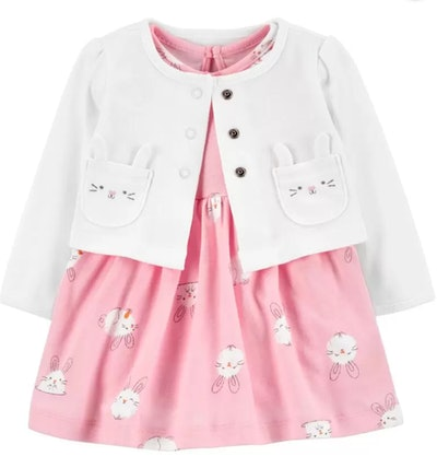 2-Piece Easter Dress & Cardigan Set