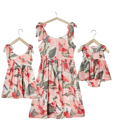 PopReal Mommy and Me Floral Printed Dresses in Pink