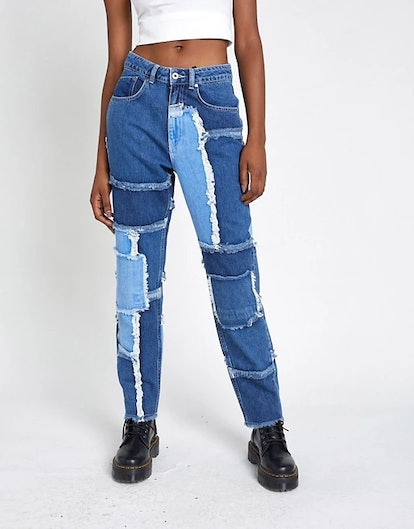 The Ragged Priest Mom Jeans in Patchwork Denim