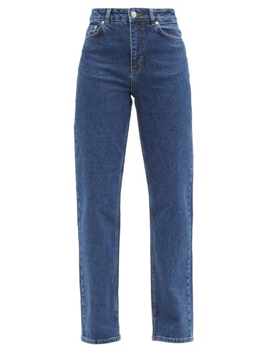 Logo-Print High-Rise Straight-Leg Jeans