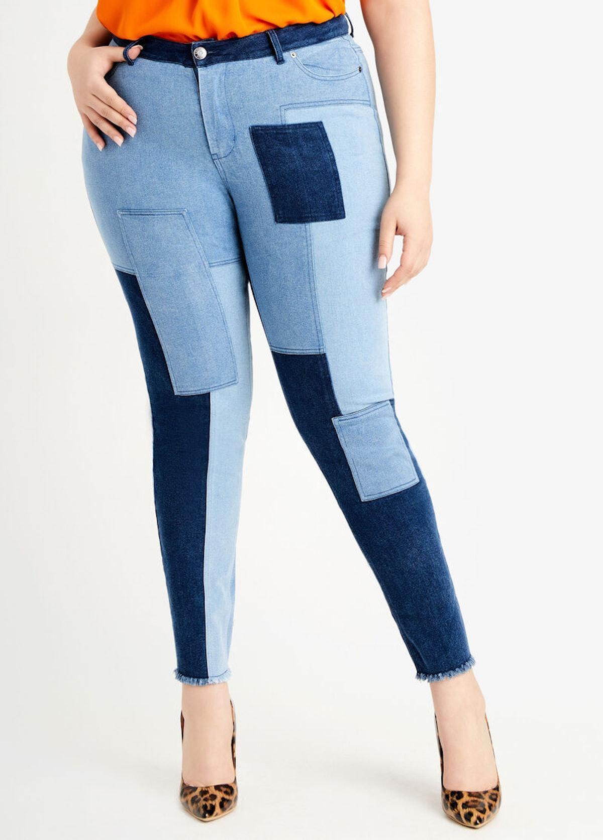 Ashley Stewart Patchwork High Wast Skinny Jean
