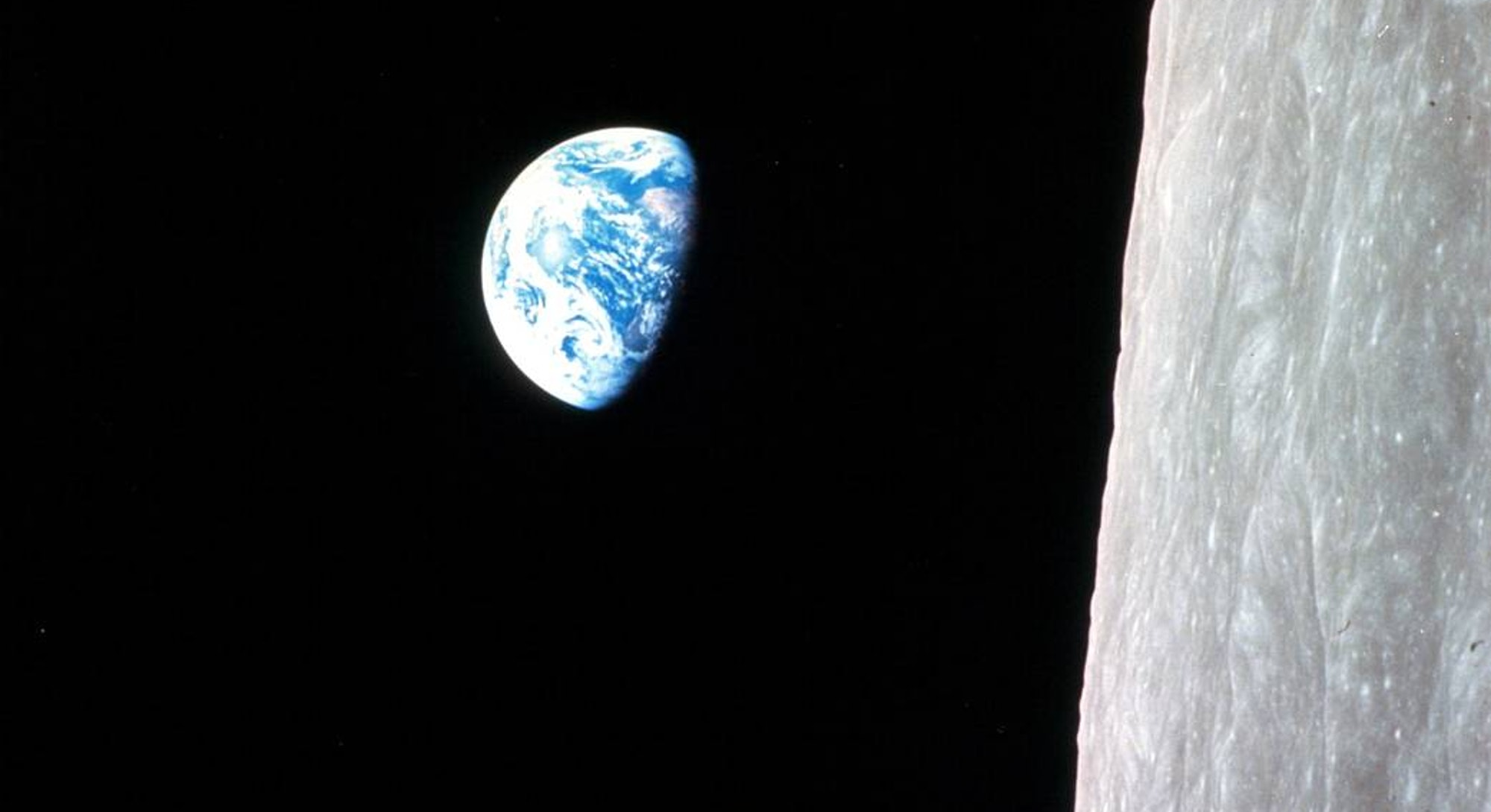 A view of Earth as seen from the far side of the Moon.