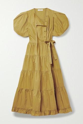 Agathe Tiered Cotton-Poplin Wrap Midi Dress
