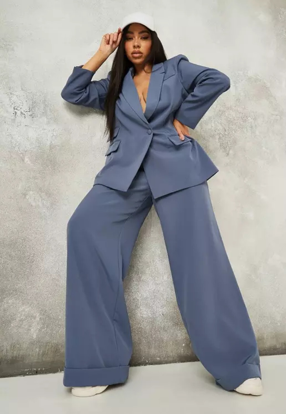 Missguided Plus Size Blue Tailored Masculine Pants