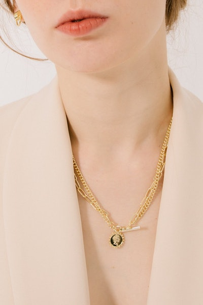 """""""Sole"""" Layered Gold Plated Pendant Necklace"""