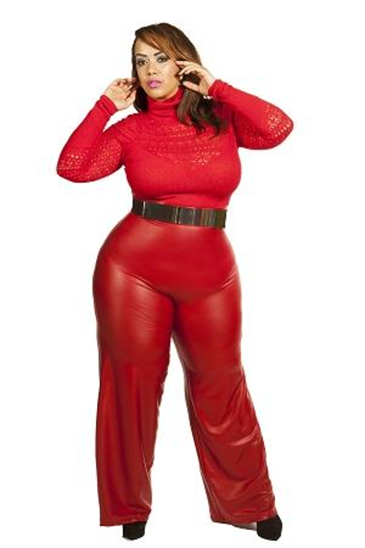 Curvaceous Boutique Red Faux Leather Palazzo Pants