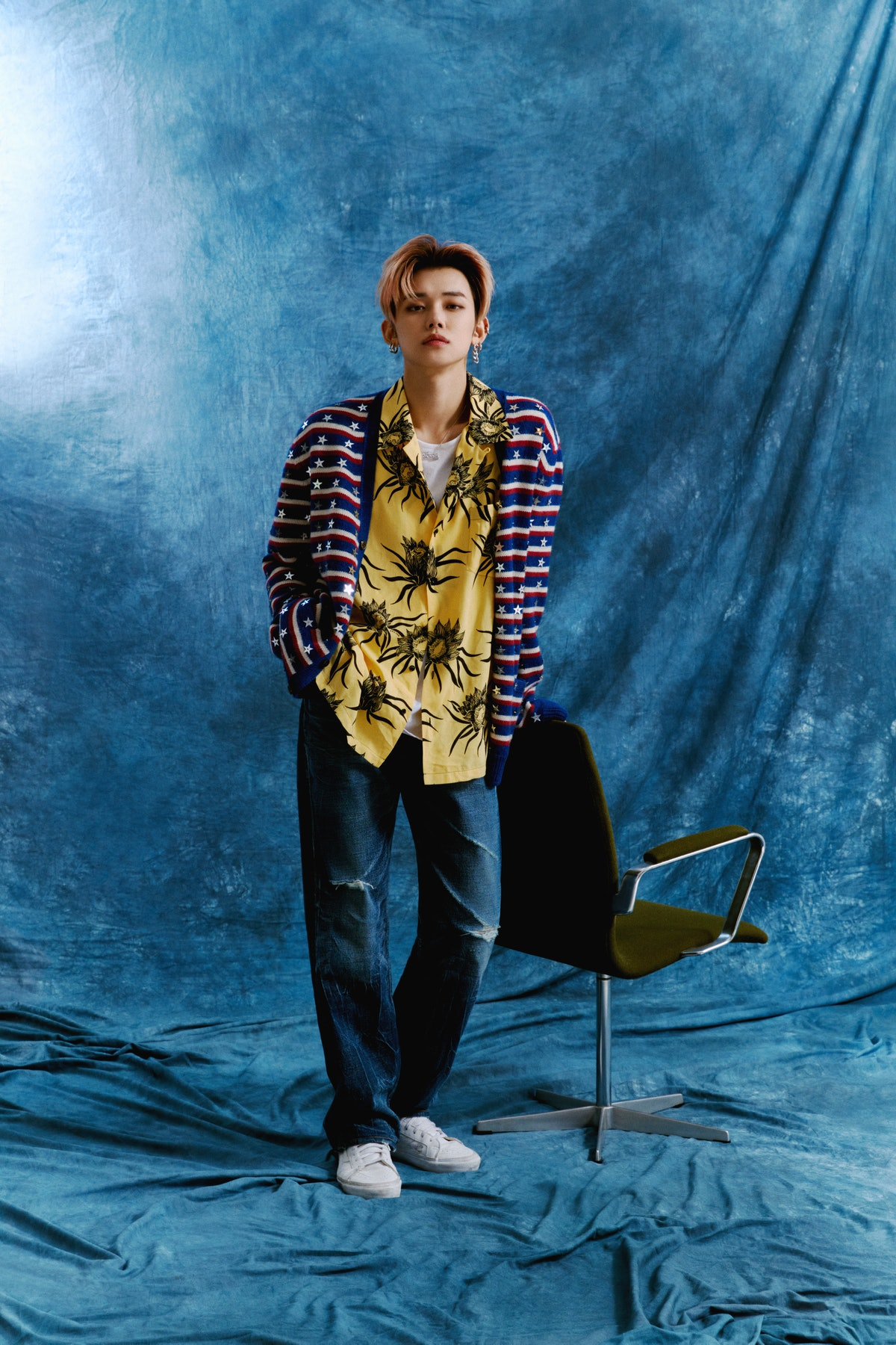 Celine by Hedi Slimane cardigan, shirt, jeans and necklace, stylist's own T-shirt and earrings, Vans shoes