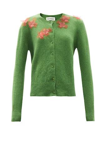 Aileen Flower-Appliqué Wool Cardigan