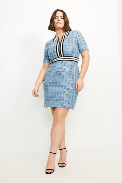 Curve Textured Check Knit Dress