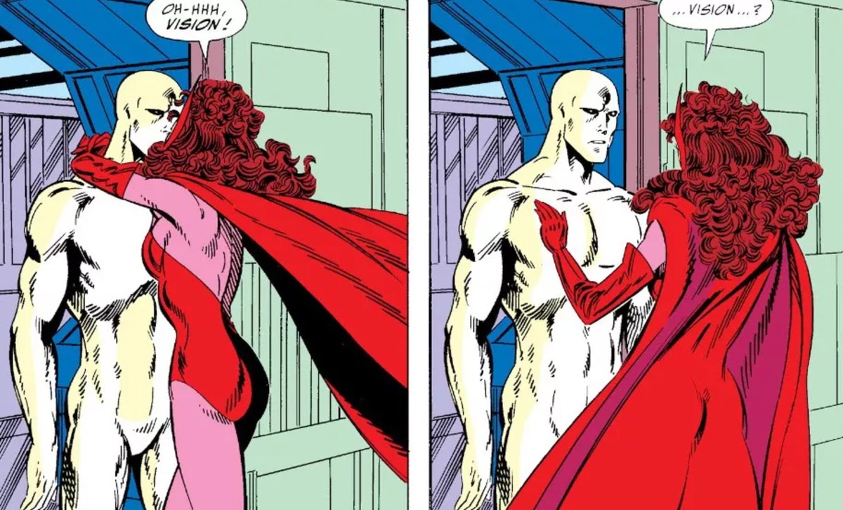 A comic frame of Vision and Scarlet Witch from West Coast Avengers.