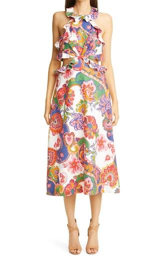 Lovestruck Floral Paisley Tie Back Midi Dress