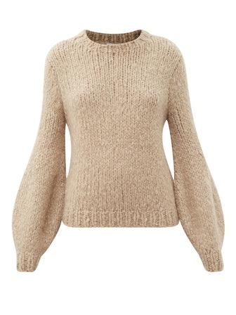 Clarissa Lantern-Sleeve Cashmere Sweater