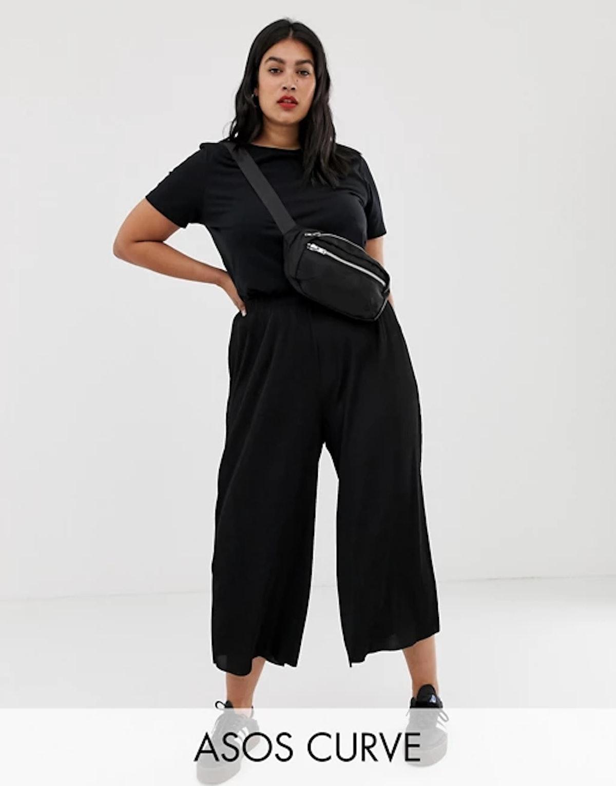ASOS Designs Curve Plisse Culotte Pants