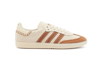 Adidas x Wales Bonner ecru mesh and tan suede sneakers