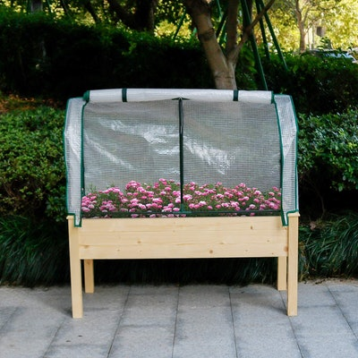 LYNSLIM PE Greenhouse Cover &  Elevated Planter Box