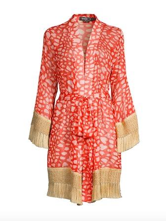 Spotted Fringe-Trim Robe