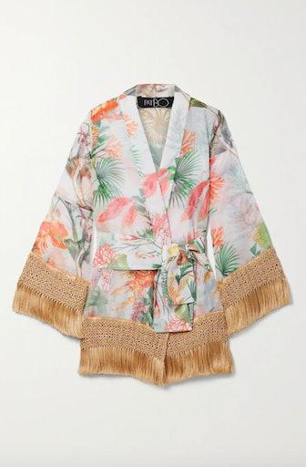 Oasis Fringed Printed Chiffon Robe
