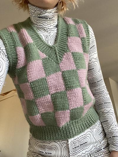 Checkered Knit Vest