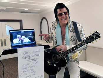 Zoom, wedding, Elvis impersonator