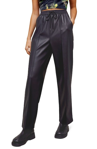 TopShop Faux Leather Straight Leg Trousers