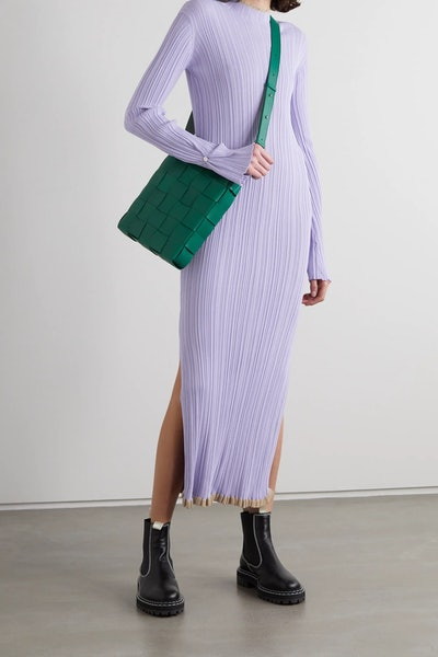 Hadeland Ruffled Two-Tone Ribbed-Knit Midi Dress